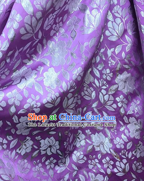 Asian Chinese Cheongsam Purple Satin Classical Flowers Pattern Design Brocade Fabric Traditional Drapery Silk Material