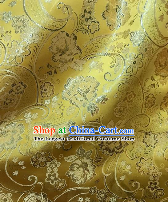 Asian Chinese Cheongsam Golden Satin Classical Peony Pattern Design Brocade Fabric Traditional Drapery Silk Material