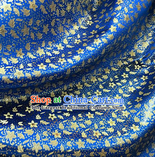 Asian Chinese Cheongsam Blue Satin Classical Pentas Pattern Design Brocade Fabric Traditional Drapery Silk Material
