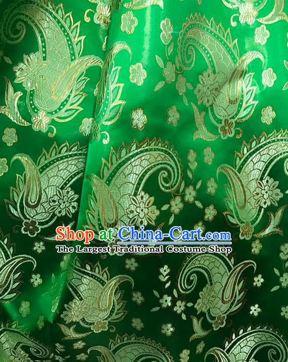 Asian Chinese Cheongsam Green Satin Classical Dragon Scales Pattern Design Brocade Fabric Traditional Drapery Silk Material