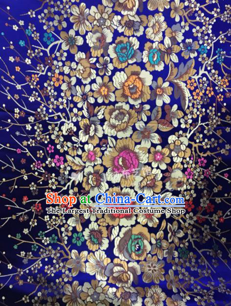 Asian Chinese Cheongsam Satin Classical Flowers Pattern Design Royalblue Brocade Fabric Traditional Drapery Silk Material