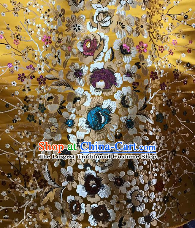 Asian Chinese Cheongsam Satin Classical Flowers Pattern Design Golden Brocade Fabric Traditional Drapery Silk Material