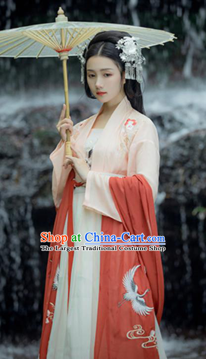 Traditional Chinese Ancient Tang Dynasty Court Princess Embroidered Historical Costume Complete Set for Women