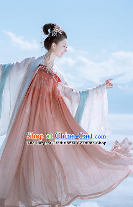 Traditional Chinese Ancient Peri Embroidered Historical Costume Tang Dynasty Imperial Consort Hanfu Dress for Women