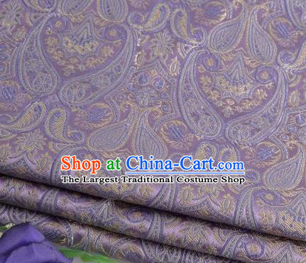 Asian Chinese Fabric Light Purple Satin Classical Loguat Pattern Design Brocade Traditional Drapery Silk Material