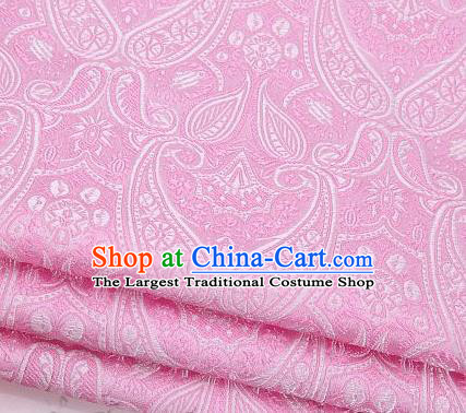 Asian Chinese Fabric Pink Satin Classical Loguat Pattern Design Brocade Traditional Drapery Silk Material