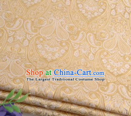 Asian Chinese Fabric Yellow Satin Classical Loguat Pattern Design Brocade Traditional Drapery Silk Material