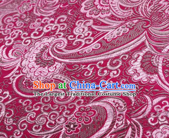 Asian Chinese Fabric Wine Red Satin Classical Pattern Design Brocade Traditional Drapery Silk Material