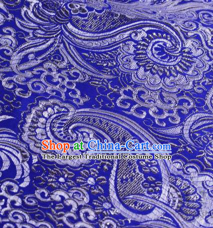 Asian Chinese Fabric Royalblue Satin Classical Pattern Design Brocade Traditional Drapery Silk Material