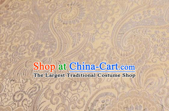 Asian Chinese Fabric Light Yellow Satin Classical Pattern Design Brocade Traditional Drapery Silk Material