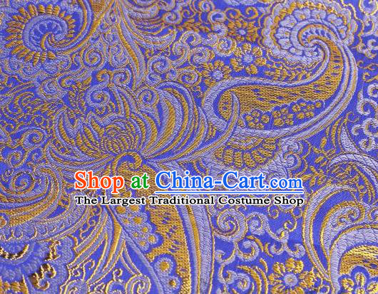 Asian Chinese Fabric Blue Satin Classical Pattern Design Brocade Traditional Drapery Silk Material
