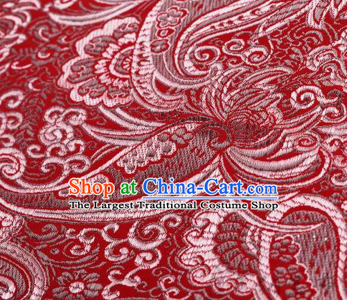 Asian Chinese Fabric Red Satin Classical Pattern Design Brocade Traditional Drapery Silk Material