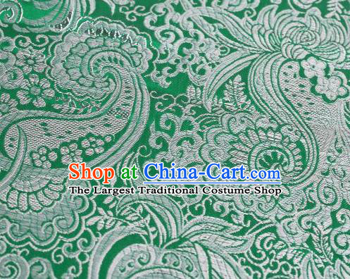 Asian Chinese Fabric Green Satin Classical Pattern Design Brocade Traditional Drapery Silk Material