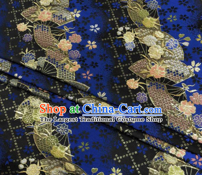 Asian Japanese Kimono Fabric Classical Fan Pattern Design Royalblue Brocade Traditional Drapery Silk Material