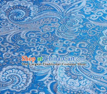 Asian Chinese Fabric Light Blue Satin Classical Pattern Design Brocade Traditional Drapery Silk Material