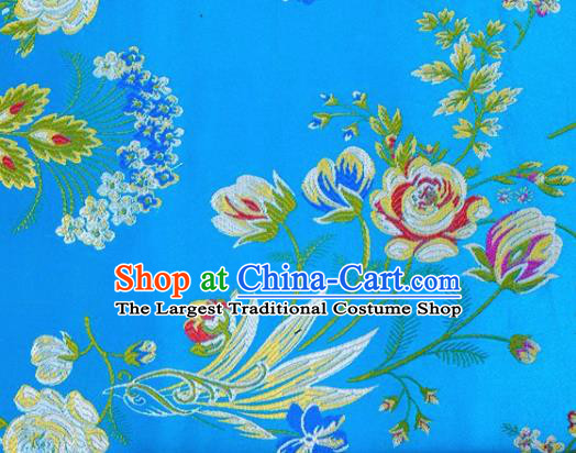 Asian Chinese Fabric Blue Satin Classical Flowers Bird Pattern Design Brocade Traditional Drapery Silk Material