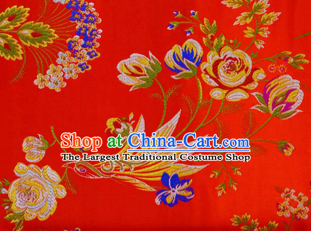 Asian Chinese Fabric Red Satin Classical Flowers Bird Pattern Design Brocade Traditional Drapery Silk Material