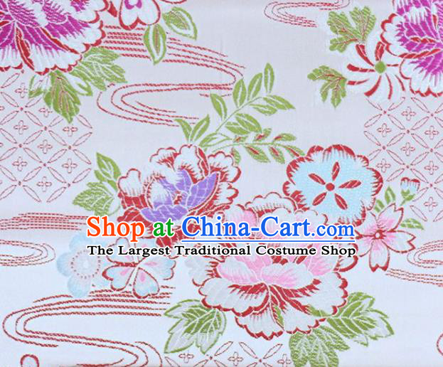 Asian Chinese Fabric White Satin Classical Peony Pattern Design Brocade Traditional Drapery Silk Material
