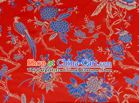 Asian Chinese Fabric Red Satin Classical Flowers Birds Pattern Design Brocade Traditional Drapery Silk Material