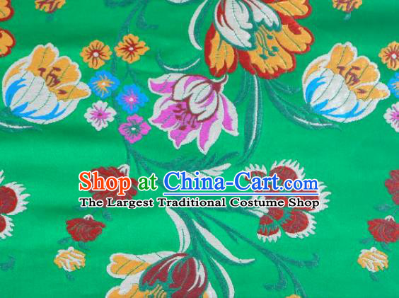 Asian Chinese Fabric Green Satin Classical Tulip Pattern Design Brocade Traditional Drapery Silk Material