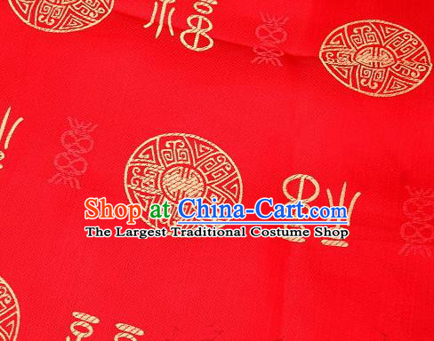 Asian Chinese Red Satin Fabric Classical Lucky Character Pattern Design Brocade Traditional Drapery Silk Material