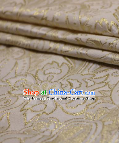 Asian Chinese White Satin Fabric Classical Pattern Design Brocade Traditional Drapery Silk Material