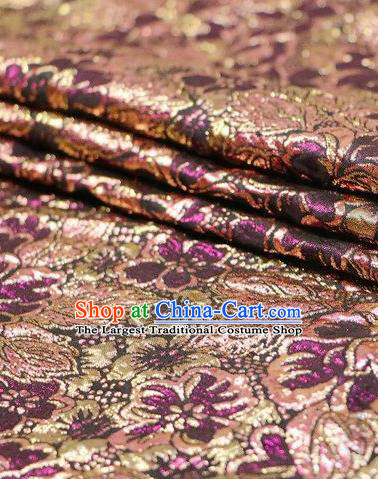 Asian Chinese Purple Satin Fabric Classical Pattern Design Brocade Traditional Drapery Silk Material