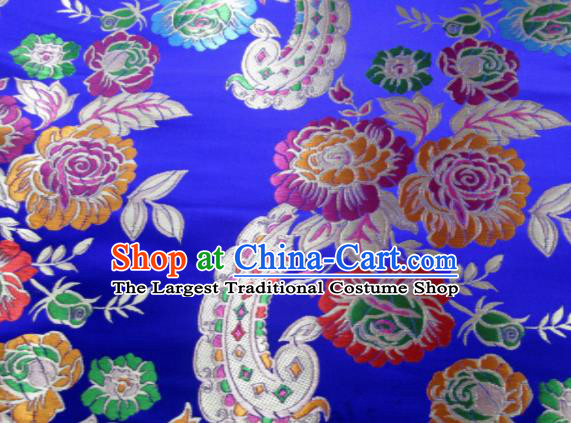 Asian Chinese Classical Roses Pattern Design Royalblue Satin Fabric Brocade Traditional Drapery Silk Material