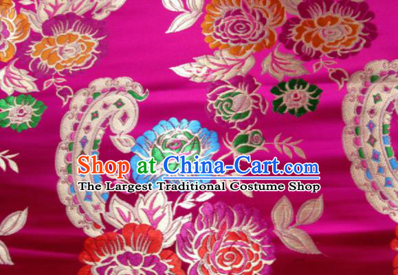 Asian Chinese Classical Roses Pattern Design Rosy Satin Fabric Brocade Traditional Drapery Silk Material