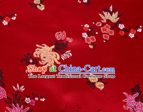Asian Chinese Classical Peony Chrysanthemum Pattern Design Red Satin Fabric Brocade Traditional Drapery Silk Material