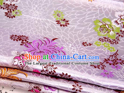 Asian Chinese Classical Peony Chrysanthemum Pattern Design Pink Satin Fabric Brocade Traditional Drapery Silk Material