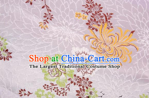 Asian Chinese Classical Peony Chrysanthemum Pattern Design White Satin Fabric Brocade Traditional Drapery Silk Material