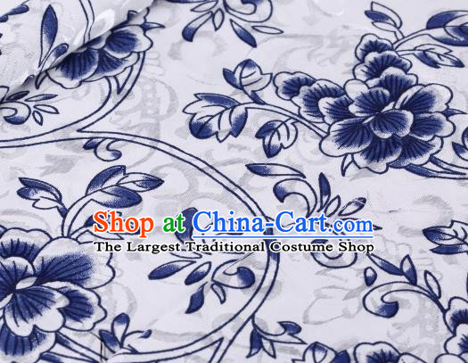 Asian Chinese Classical Blue Flowers Pattern Design Satin Fabric Brocade Traditional Drapery Silk Material