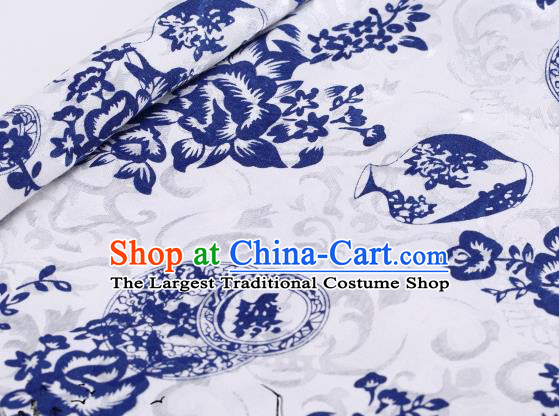 Asian Chinese Classical Blue Vase Pattern Design Satin Fabric Brocade Traditional Drapery Silk Material