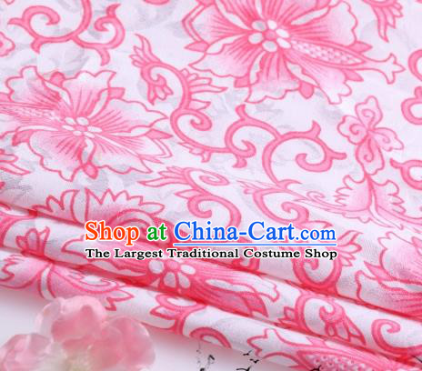 Asian Chinese Classical Pink Flowers Pattern Design Satin Fabric Brocade Traditional Drapery Silk Material