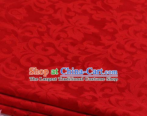 Asian Chinese Classical Chrysanthemum Leaf Pattern Design Red Satin Fabric Brocade Traditional Drapery Silk Material