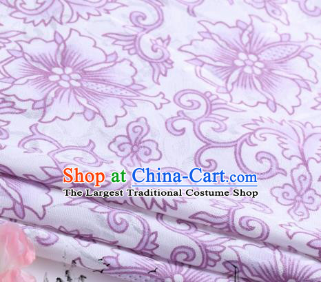 Asian Chinese Classical Purple Flowers Pattern Design Satin Fabric Brocade Traditional Drapery Silk Material