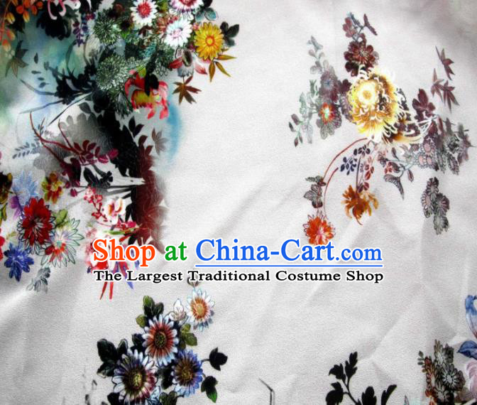Asian Chinese Classical Chrysanthemum Pattern Design White Satin Fabric Brocade Traditional Drapery Silk Material