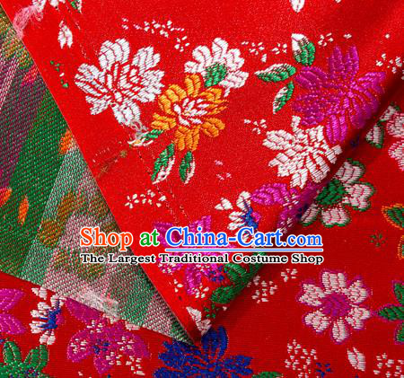 Asian Japanese Kimono Fabric Classical Flowers Pattern Design Red Brocade Traditional Drapery Silk Material