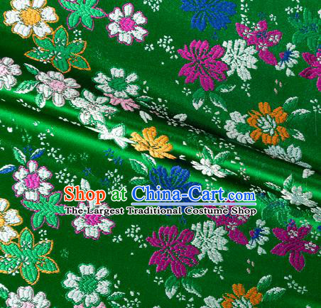 Asian Japanese Kimono Fabric Classical Flowers Pattern Design Green Brocade Traditional Drapery Silk Material