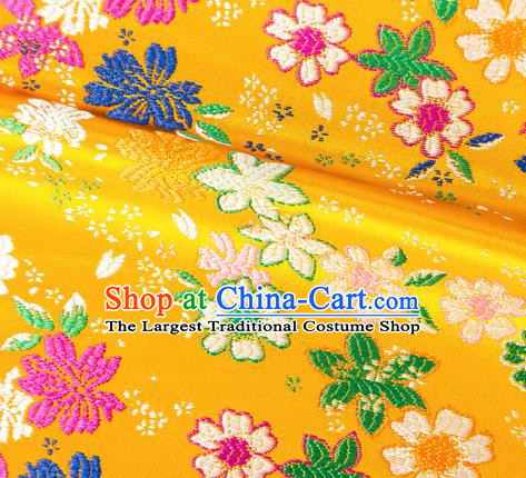 Asian Japanese Kimono Fabric Classical Flowers Pattern Design Yellow Brocade Traditional Drapery Silk Material