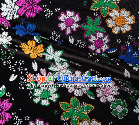 Asian Japanese Kimono Fabric Classical Flowers Pattern Design Black Brocade Traditional Drapery Silk Material