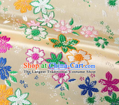 Asian Japanese Kimono Fabric Classical Flowers Pattern Design Beige Brocade Traditional Drapery Silk Material