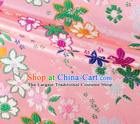 Asian Japanese Kimono Fabric Classical Flowers Pattern Design Pink Brocade Traditional Drapery Silk Material