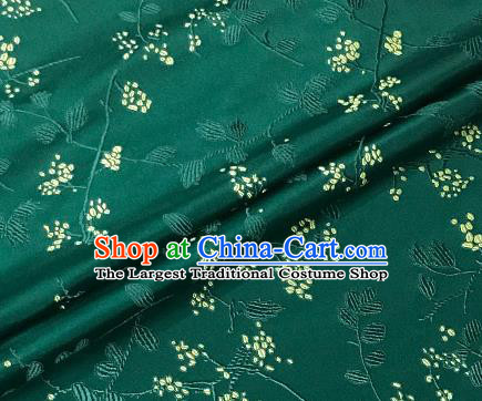 Asian Japanese Kimono Fabric Classical Pattern Design Deep Green Brocade Traditional Drapery Silk Material