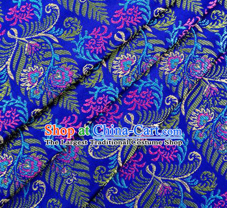 Asian Chinese Classical Cycas Flowers Pattern Design Royalblue Satin Fabric Brocade Traditional Drapery Silk Material