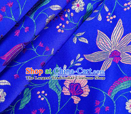 Asian Chinese Classical Embroidered Flowers Pattern Design Royalblue Satin Fabric Brocade Traditional Drapery Silk Material