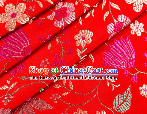 Asian Chinese Classical Embroidered Flowers Pattern Design Red Satin Fabric Brocade Traditional Drapery Silk Material