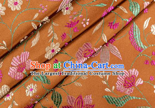 Asian Chinese Classical Embroidered Flowers Pattern Design Bronze Satin Fabric Brocade Traditional Drapery Silk Material