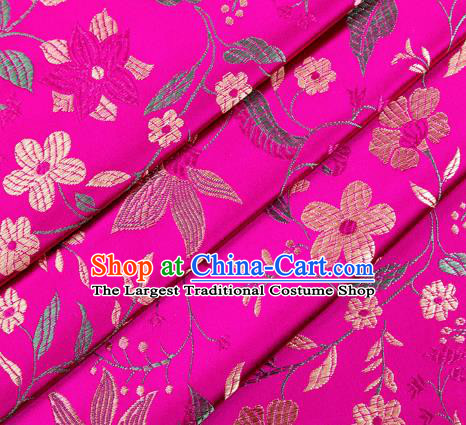 Asian Chinese Classical Embroidered Flowers Pattern Design Rosy Satin Fabric Brocade Traditional Drapery Silk Material